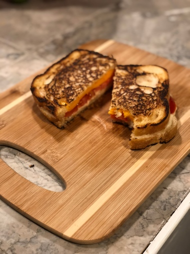 "Grilled ""Cheeze"" with Tomato & Salami"